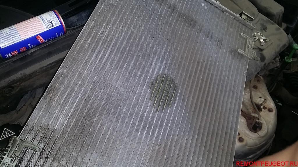 радиатор кондиционера, утечка хладона
