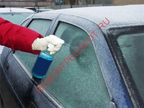 замершие окна автомобиля