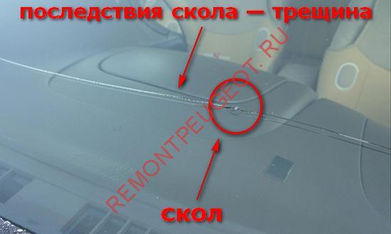 Ремонт сколов лобового стекла на автомобиле